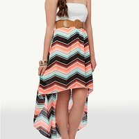 Belted Chevron High Low Tube Dress