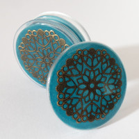 Turquoise and Bronze Three part Magnetic Herb Weed Tobacco Grinder