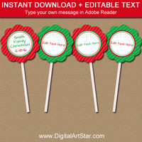 Christmas Cupcake Toppers - Holiday Cupcake Toppers - PRINTABLE Christmas Cupcake Picks - EDITABLE Christmas Tags - Christmas Gift Labels C3
