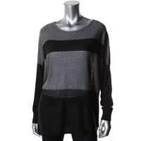 DKNY Womens Silk Knit Striped Pullover Sweater