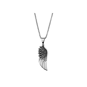 Soar - High Polished Stainless Steel Necklace with Wing Pendant