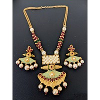 Matte gold polished designer pendant with color crystal bead chain necklace and earring set