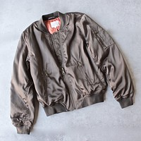 Padded Satin Bomber Jacket in Olive