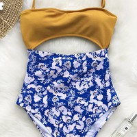 Cupshe Blue Eyes Halter One-piece Swimsuit