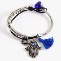 Hamsa Evil Eye Charm Fashion Bracelet(1)- Gold or Silver