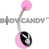 Playboy Black LOGO INLAY Pink ACRYLIC Logo Belly Button Ring | Body Candy Body Jewelry