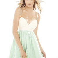 Mint Green Mini Dress with Pearl Embellished Bodice Top