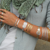 Rope Jewelry, Rope Bracelets, Knotted Rope Bracelet, Knotted Rope Metallic Tattoos, Metallic Temporary Tattoo Jewelry Rope Design Cllection