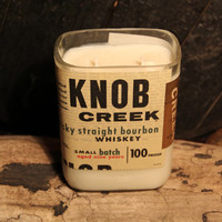 Recycled Bourbon Candle - Knob Creek 1L Whiskey Bottle Double Wick Upcycled Soy Candle 26oz Handmade in Louisville Kentucky