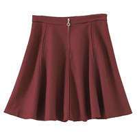 Wine Red High Waisted Flare Skirt