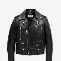Saint Laurent Classic Motorcycle Jacket In Black Leather   ysl.com