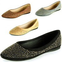 Womens Ballet Flats Slip On Rhinestone Shoe Faux Suede Round Pointed Toe Loafers