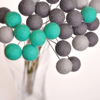 Teal gray felt flower set -  felt billy balls - wool ball flowers