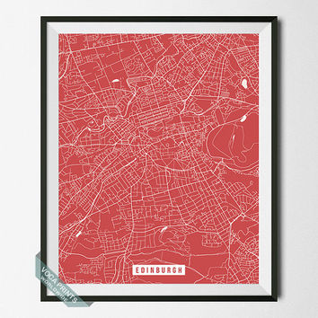 Edinburgh Street Map, Scotland Poster, Edinburgh Poster, Scotland Print, Home Decor, United Kingdom, Map Print, Wall Art, Back To School