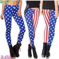The US Flag Fitness Gym Workout Tights White Star Red Stripe Running Leggins Stretched Slim Fit Skinny Femininos Pencil Trousers