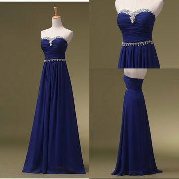 Royal Blue Chiffon and Beads Prom Dresses Graduation Party Gowns pst0201