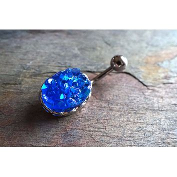 Sparkly Blue Druzy Belly Button Jewelry Ring