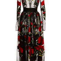 Dotted Tulle Carnation Embroidered Dress by Dolce & Gabbana - Moda Operandi