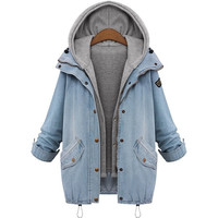 Women Denim Hooded Long Sleeve Drawstring Outerwear Plus Size Slim Casual Blue Vest Trench Suit Jeans Parka = 1929940996