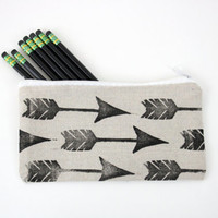 Arrows Pencil Case Back to School Zippered Canvas Pouch Block Print in Black ink