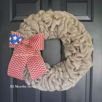 Burlap Wreath with Patriotic Bow with Stars