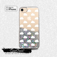 White Clouds Pattern Cloudy Puffs Cute Liquid Glitter Sparkle Case for iPhone 6 and 6s iPhone 6 Plus and 6s Plus iPhone 7 and iPhone 7 Plus