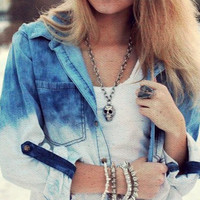 Ombre Bleached Denim Shirt