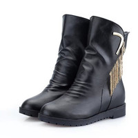 Womens Stylish High-Top Moto Boots