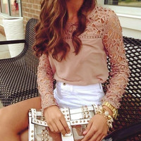 Hot Classic Fashion Women Career Chiffon Blouse 2014 Autumn Winters Lace Sleeve Shirt Hollow Out Tops #TAE = 1753787204