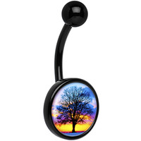 Black Titanium Sunset Tree Branching Out Belly Ring | Body Candy Body Jewelry