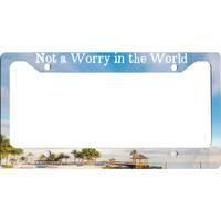 Not a Worry in the World Tropical Beach Bar Caribbean License Plate Frame