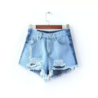 Blue Denim Ripped Zipper High Waist Tassel Pocket Shorts