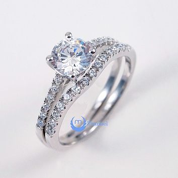 1.25ct Round Cut Engagement Wedding Set 2 RINGS Signity CZ  Sterling Silver