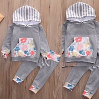 Newborn Baby Boys Girls Clothes Set Long Sleeve Hooded Tops Long Sleeve Pants 2Pcs Outfits Set Clothing Baby Girl