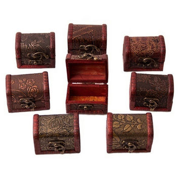 Vintage Wooden Jewelry Storage Treasure Chest Wood Box Case Organiser Gifts Carrrying Cases R om send SM6