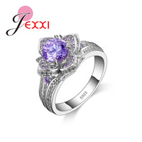 JEXXI Beautiful Purple Flower Ring With Full Shiny AAA+ Austrain Rhinestone 925 Sterling Silver Fashion Jewelry For Women Party