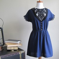 Navy blue nautical shirt lace applique and gold by Minxshop