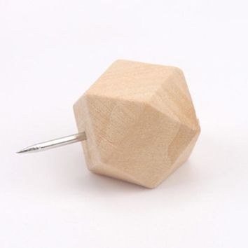 50pcs/set Jumbo Size Polygon Diamond Sharpe Wooden Push Pins Art and Drawing Used School Office Sundries Standard Pins