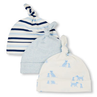 Baby Boys Puppy Family Love Print Solid And Striped Knotted Hat 3-Pack | The Children's Place
