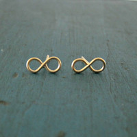 Gold Infinity Earrings Tiny Stud Earrings Bridesmaid Gifts Shower gifts