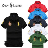 Hot Sale Ralph Lauren MEN Stripe Polo Shirt 100% COTTON TOP
