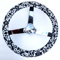 Black and White Damask Victorian Handmade Steering Wheel Cover