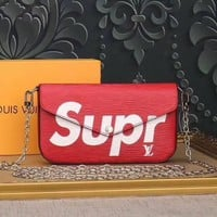 LV SUPREME NEW STYLE LEATHER CHAIN SHOULDER BAG