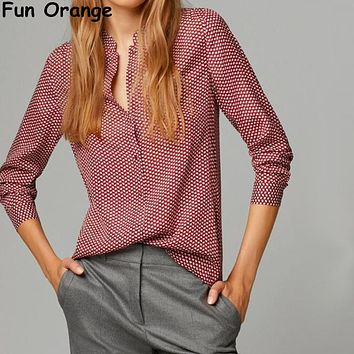 New Fashion Ladies elegant red leaves print blouses vintage stand collar long sleeve  shirts casual slim
