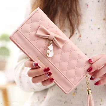 Women Purses Female Tassel Lovely Carteira Feminina Fashion Coin Purse Card Holder Girls Cute Long Clutch Bag Lady Wallet Women