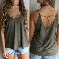 Salt Point Olive Spaghetti Strap Suede Cami