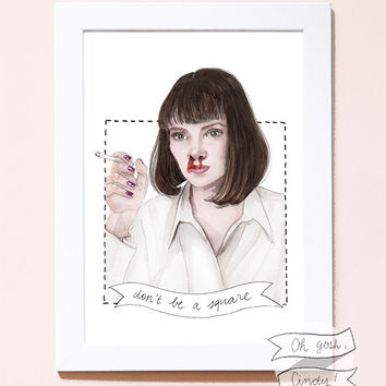 Mia Wallace watercolour portrait PRINT Pulp Fiction