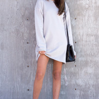 Selina Zipper Sweatshirt Dress - Grey