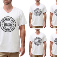 Stamps of famous Cities Printed Cotton V-neck Men T-shirt MTS_02