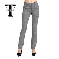 T-INSIDE 2016 Women's Pants Black White Plaid Pattern Fitted High Quality Wear to Work Fashion Women Pencil Pants Brand New